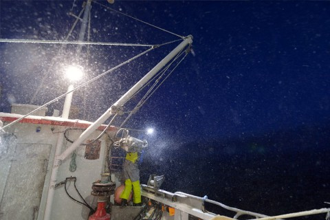 Crabfishing in Varanagerfjord in winther time